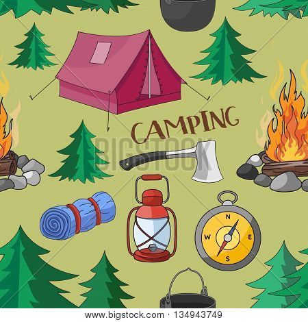 Camping pattern with equipment symbols and icons. Vector illustration, EPS 10