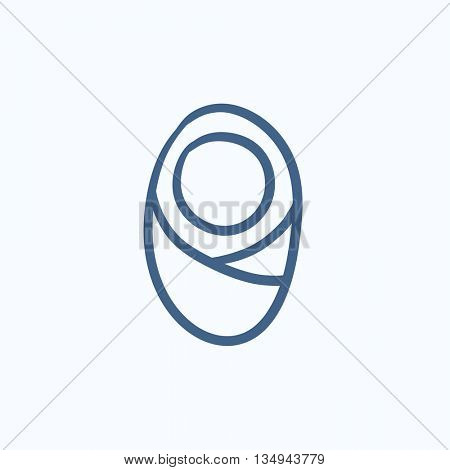 Infant wrapped in swaddling clothes vector sketch icon isolated on background. Hand drawn Infant in swaddling clothes icon. Infant in swaddling clothes sketch icon for infographic, website or app.