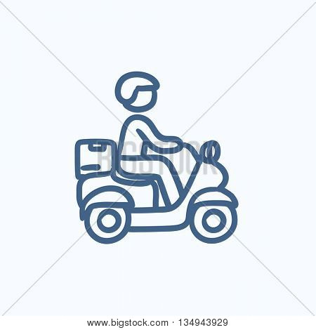 Man carrying goods on bike vector sketch icon isolated on background. Hand drawn Man carrying goods on bike icon. Man carrying goods on bike sketch icon for infographic, website or app.