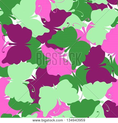 Butterfly colored seamless pattern. Green, dark red, pink butterfly. Nature seamless background. Vector illustration. Used for cards, invitations, fabrics, wallpapers wrapping scrap-booking