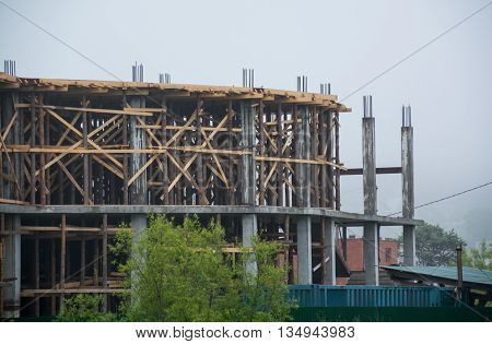 Construction frame at a unfinished two-storey house