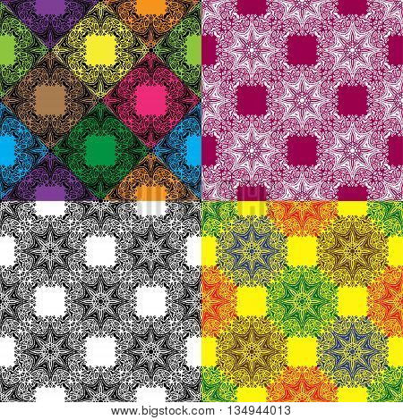 Set of Seamless Mandala Color Pattern. Vector illustration. Can be used for fabrics, wallpapers, wrapping design, scrap-booking, web sites, flyers, invitation