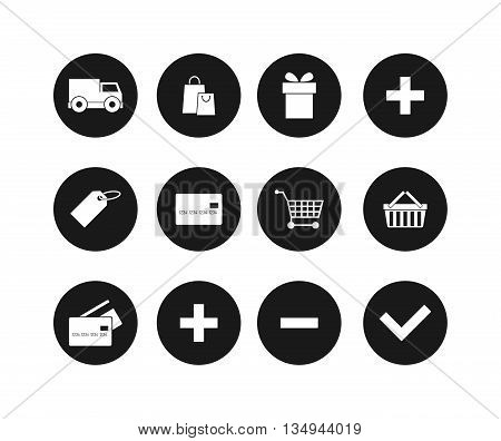 Modern flat shopping black silhouette web icons vector set in stylish colors of shopping objects and items. Isolated on white background shopping web icons. Shopping web icons store basket cart money