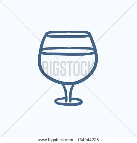 Glass of wine vector sketch icon isolated on background. Hand drawn Glass of wine icon. Glass of wine sketch icon for infographic, website or app.