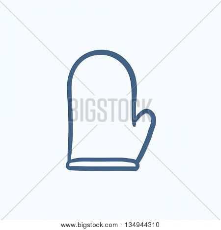 Kitchen glove vector sketch icon isolated on background. Hand drawn Kitchen glove icon. Kitchen glove sketch icon for infographic, website or app.