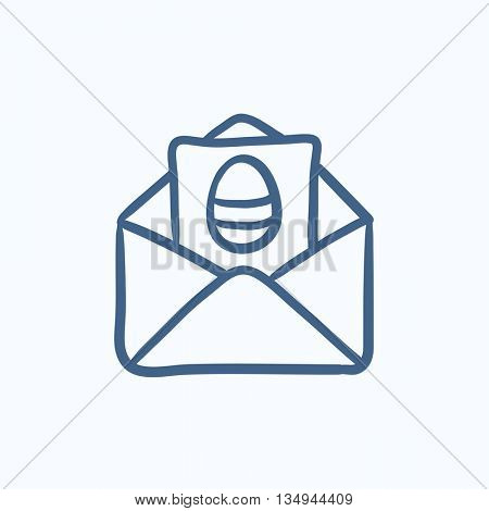 Easter greeting card in envelope vector sketch icon isolated on background. Hand drawn Easter greeting card in envelope icon. Easter greeting card sketch icon for infographic, website or app.