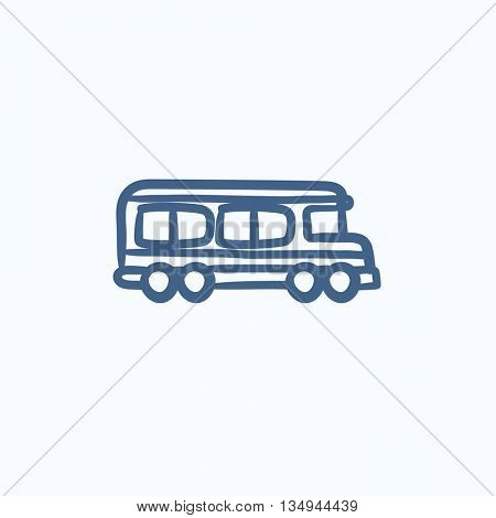 School bus vector sketch icon isolated on background. Hand drawn School bus icon. School bus sketch icon for infographic, website or app.