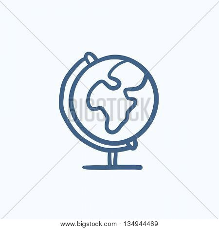 World globe on stand vector sketch icon isolated on background. Hand drawn World globe on stand icon. World globe on stand sketch icon for infographic, website or app.