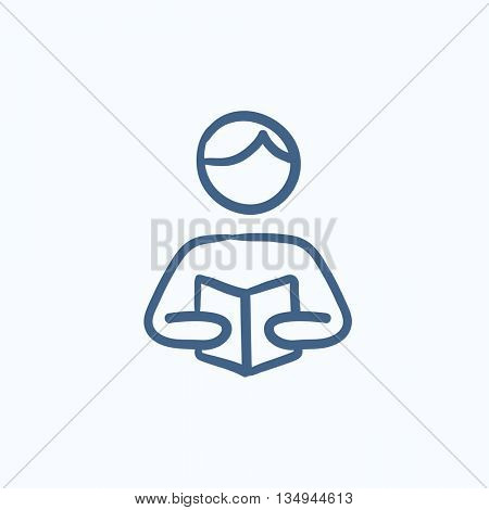 Man reading book vector sketch icon isolated on background. Hand drawn Man reading book icon. Man reading book sketch icon for infographic, website or app.