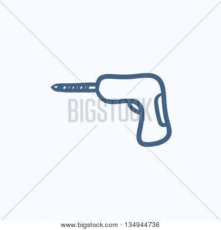 Hammer drill vector sketch icon isolated on background. Hand drawn Hammer drill icon. Hammer drill sketch icon for infographic, website or app.