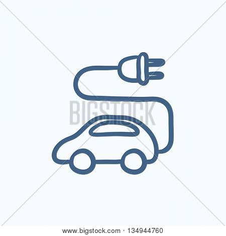 Electric car vector sketch icon isolated on background. Hand drawn Electric car icon. Electric car sketch icon for infographic, website or app.