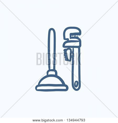 Pipe wrenches and plunger vector sketch icon isolated on background. Hand drawn Pipe wrenches and plunger icon. Pipe wrenches and plunger sketch icon for infographic, website or app.