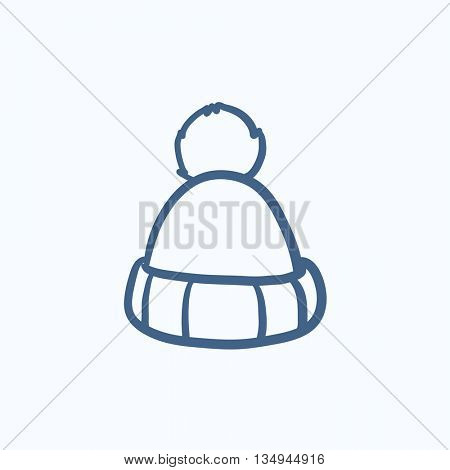 Knitted hat vector sketch icon isolated on background. Hand drawn Knitted hat icon. Knitted hat sketch icon for infographic, website or app.