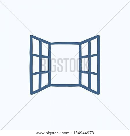 Open windows vector sketch icon isolated on background. Hand drawn Open windows icon. Open windows sketch icon for infographic, website or app.