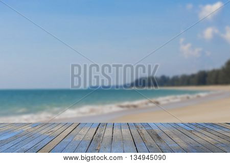 wooden floor with beautiful blue sky scenery for background