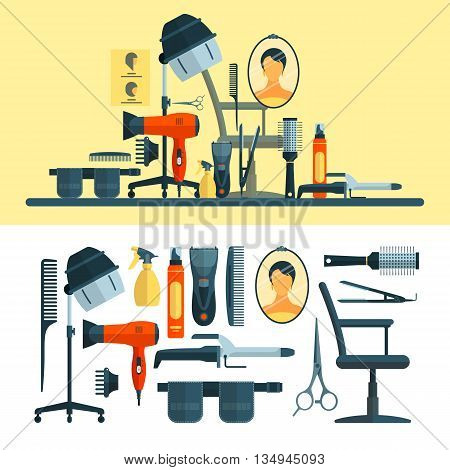 Vector set of hairdresser objects and tools isolated on white background. Hair salon equipment icons, hair hood dryer, hairdryer, comb, scissors.