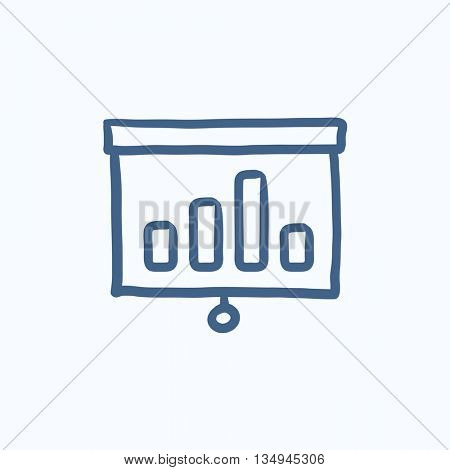 Projector roller screen vector sketch icon isolated on background. Hand drawn Projector roller screen icon. Projector roller screen sketch icon for infographic, website or app.