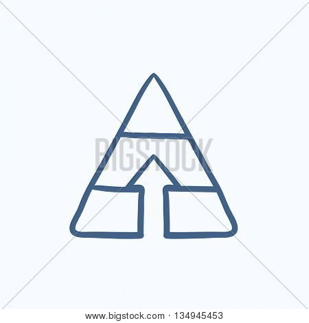 Pyramid with arrow up vector sketch icon isolated on background. Hand drawn Pyramid with arrow up icon. Pyramid with arrow up sketch icon for infographic, website or app.