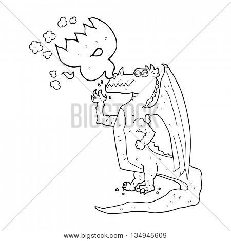 freehand drawn black and white cartoon happy dragon breathing fire