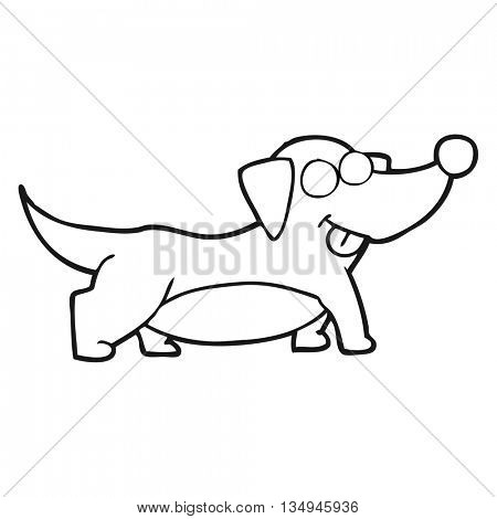 freehand drawn black and white cartoon happy little dog