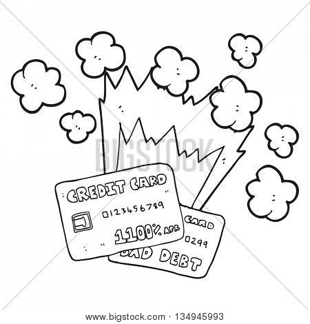 freehand drawn black and white cartoon credit card debt