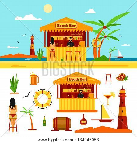 Woman in bikini sit in bar on a beach. Summer vacation concept. Vector illustration in flat style. Design elements and icons isolated on white background.