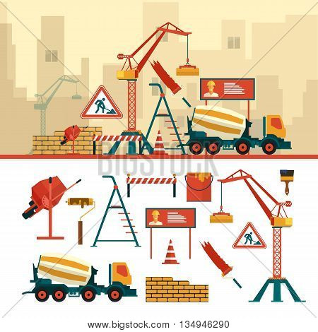 Vector set of construction site objects and tools isolated on white background. Construction building equipment icons in flat style. Crane, bricks, sign, concrete mixer.
