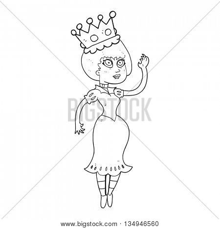 freehand drawn black and white cartoon vampire queen waving