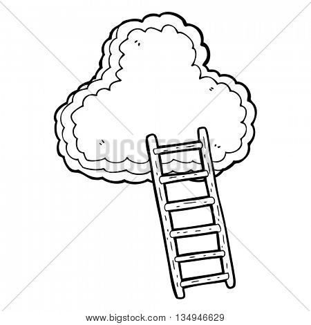 freehand drawn black and white cartoon ladder to heaven