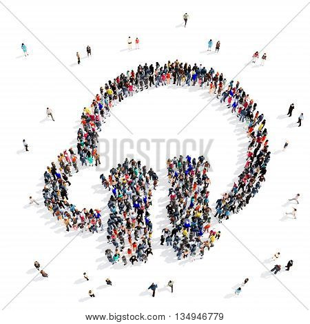 Large and creative group of people gathered together in the shape of a download . 3d illustration, isolated, white background.