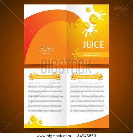 brochure design template booklet catalog fruit juice liquid drops splash orange background