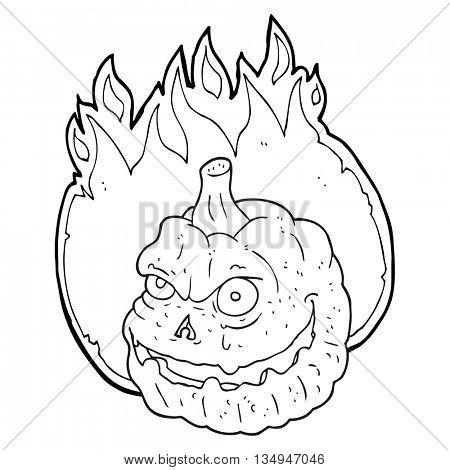 freehand drawn black and white cartoon spooky pumpkin