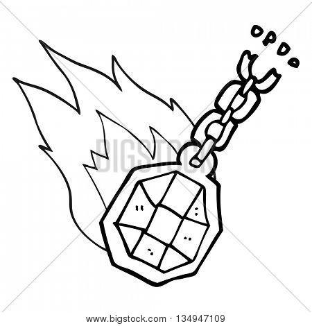 freehand drawn black and white cartoon magic pendant