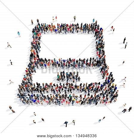 Large and creative group of people gathered together in the shape of a laptop . 3d illustration, isolated, white background.