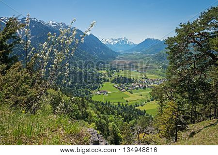 Lookout From Hiking Trail To Loisach Valley And Zugspitze