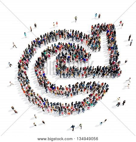 Large and creative group of people gathered together in the shape of a arrow, cycle . 3d illustration, isolated, white background.