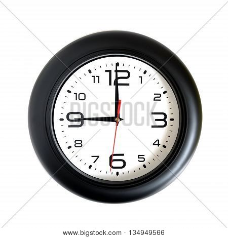 Big round wall clock, with a black rim on a white background close-up and arrows showing nine o'clock
