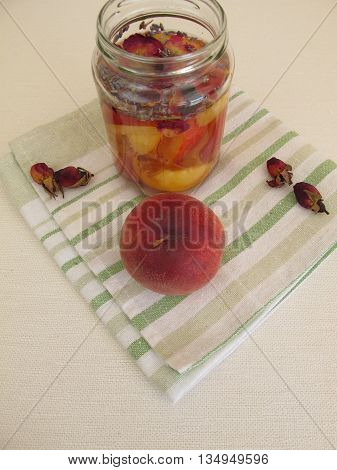 Detox water with peach, rose and lavender