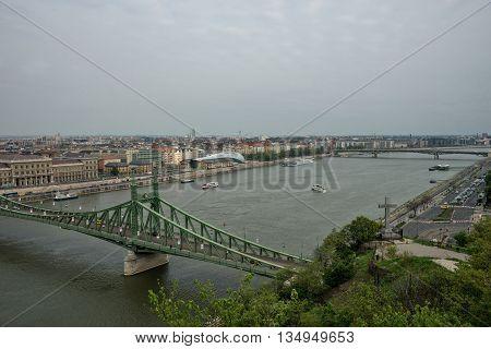 Budapest Hungary - April 10. 2016: Freedom Bridge in Budapest Hungary over Danube river