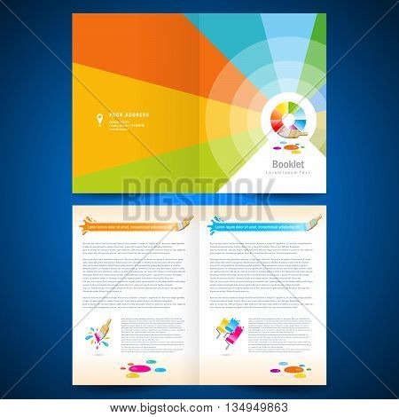 booklet catalog brochure folder paint brush colorful lines on vivid background