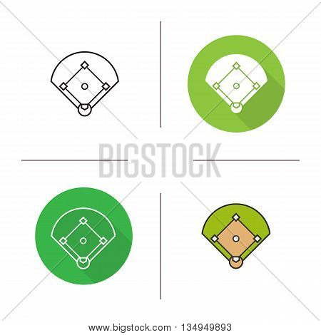 Baseball field icon. Flat design, linear and color styles. Baseball lawn isolated vector illustrations