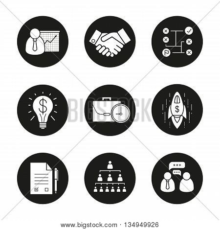 Business black icons set. Teamwork, company hierarchy and work management. Presentation with graph, signed contract and handshake. Vector white illustrations in circles