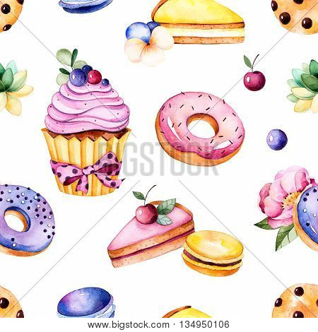 Seamless pattern with peony flower, leaves, succulent plant,t asty cupcake, pansy flower, macaroons, donuts, cookies, lemon and cherry cheesecakes, berries.
