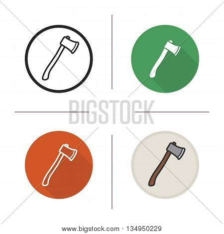 Axe icon. Flat design, linear and color styles. Hatchet. Ax isolated vector illustrations