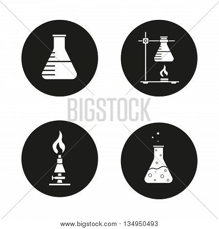 Chemical lab icons set. Beaker, ring stand with flask, lan burner and chemical reaction. Vector white illustrations in black circles