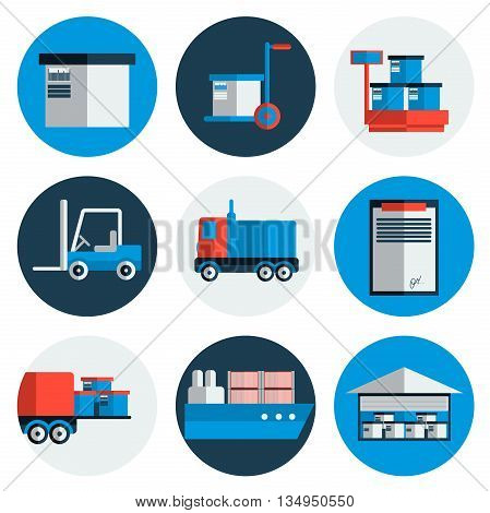 Delivery Flat Icons Set, Shipping, Transport, Order, Service Fast and Free. Vector illustration EPS 10