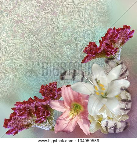 floral pattern on patterned pale green background