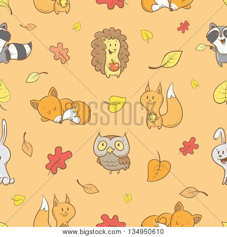 Seamless pattern with cute cartoon foxes, hedgehog, squirrel, raccoon, owl  and falling leaves on  orange  background. Autumn season. Funny forest animals. Vector image. Children's illustration.