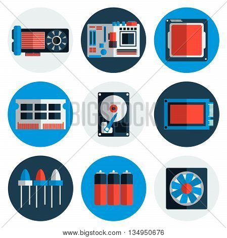 Electronic parts flat icons. Flat style. Vector illustration, EPS 10