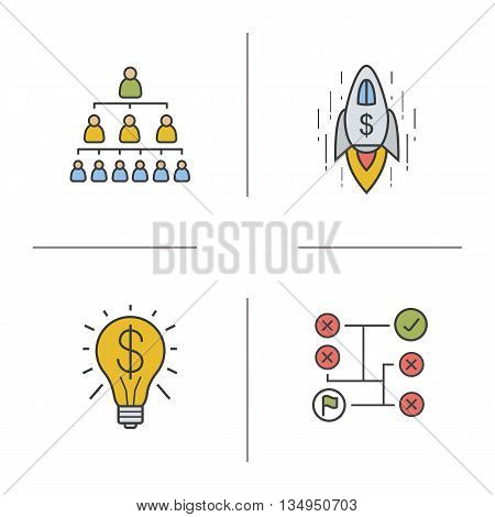 Business concept color icons set. Company hierarchy, goal achievement, money making idea and solving problems symbols. Vector isolated illustrations